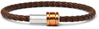 Montblanc 1858 Braided Leather, Stainless Steel And Bronze Bracelet