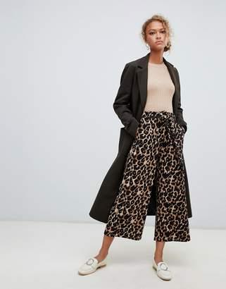 New Look tie waist crop pants in leopard print