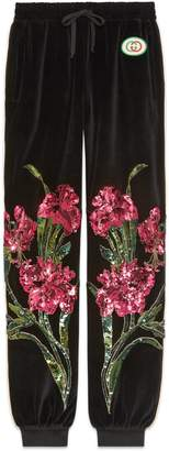 Gucci Chenille jogging pants with floral patches