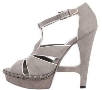 Saint Laurent Suede Peep-Toe Platform Sandals