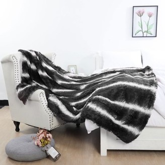 "Unique Bargains Faux Fur Throw Blanket Shaggy Super Soft Warm Furry Plush Twin 62""x78"" Black"