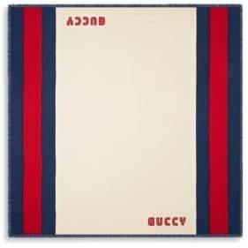 Gucci Men's Guccy Web Silk Blend Scarf - Ivory Indigo
