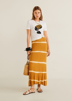 MANGO Printed cotton-blend t-shirt white - XXS - Women