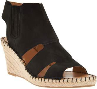 Franco Sarto Leather Cut-out Espadrille Wedges - Nola