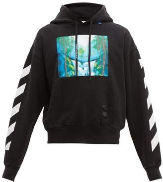 Off-White Off White Waterfall Print Cotton Hooded Sweatshirt - Mens - Black Multi