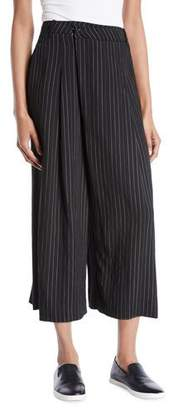 Vince Striped High-Rise Cropped Culotte Pants