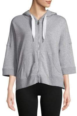 Calvin Klein Three-Quarter Sleeve Zip-Up Hoodie