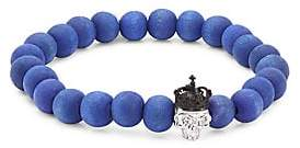 Tateossian King Skull Crystal and Silver Beaded Bracelet