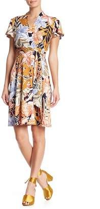 Nicole Miller Surplice Neck Short Sleeve Floral Print Fit and Flare Dress