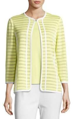 Misook Striped Ribbon-Trim Textured Jacket, Daiquiri Green, Plus Size