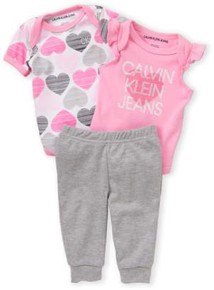 Calvin Klein Jeans Newborn Girls) 3-Pack Heart Bodysuit & Pants Set