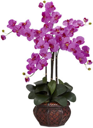 Nearly Natural Phalaenopsis Orchid Artificial Flower Arrangement in Decorative Vase