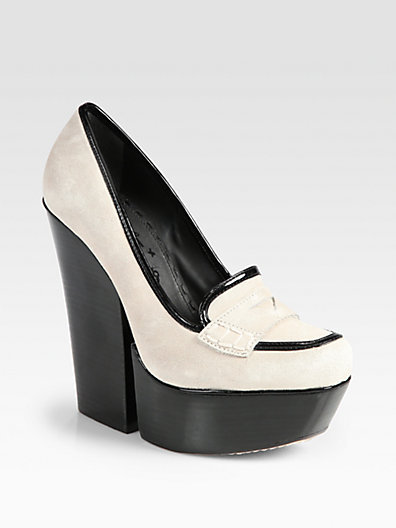 Alice + Olivia Suede and Patent Leather Platform Loafer Pumps