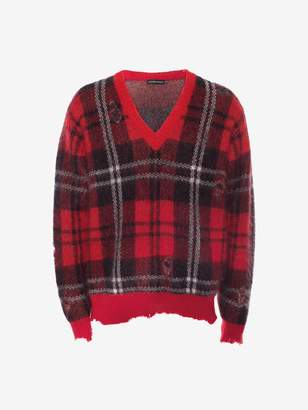 Alexander McQueen Distressed Mohair Tartan V-Neck Sweater