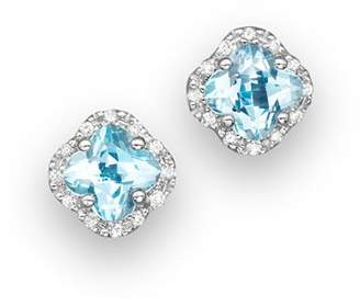 Bloomingdale's Blue Topaz and Diamond Stud Earrings in 14K White Gold - 100% Exclusive