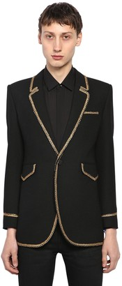 Saint Laurent Single Breasted Wool Jacket W/ Piping