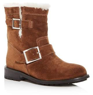 Jimmy Choo Women's Youth Suede & Shearling Moto Boots