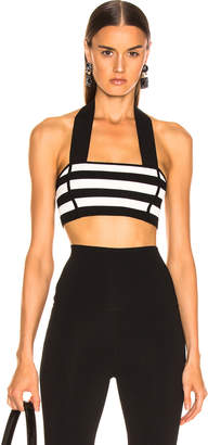 KHAITE Janet Bralette Top in Black & Cream Stripe | FWRD