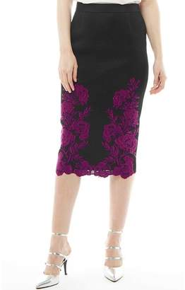 ee489a5f4cf287 Ted Baker Womens Valari Embroidered Mesh Lace Pencil Skirt Dark Red