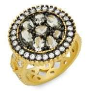 Freida Rothman Crystal Round Pebble Cocktail Ring