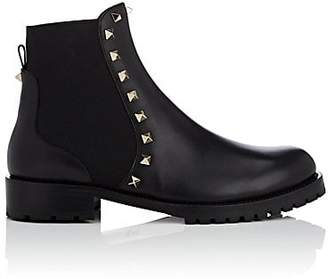 Valentino Women's Rockstud Leather Biker Ankle Boots - Black
