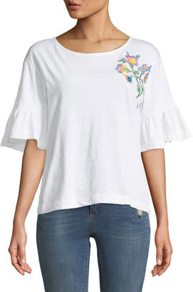 Chelsea & Theodore Embroidered Ruffle-Sleeve Tee