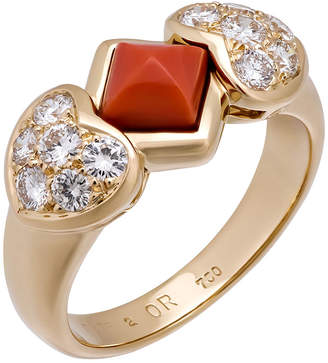 Christian Dior 18k Coral & Diamond Heart Ring, Size 8.75