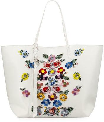 Alexander McQueenAlexander McQueen Skull Floral-Embellished Shopper Tote Bag, White/Multi