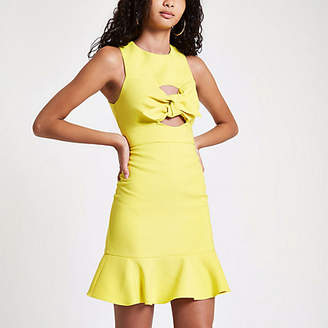 River Island Womens Yellow knot front bodycon dress