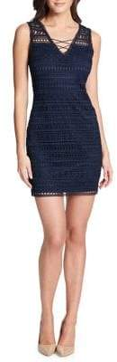 GUESS Sleeveless Lace-Up Sheath Dress