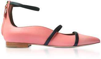 Malone Souliers Robyn Rose And Midnight Blue Nappa Leather Flat Ballerinas