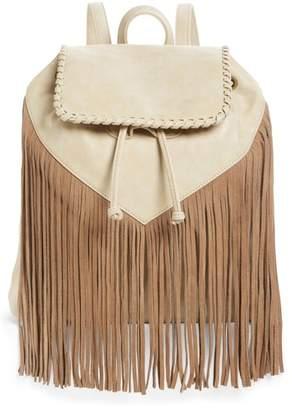 Emperia Sage Fringe Detail Faux Leather Backpack