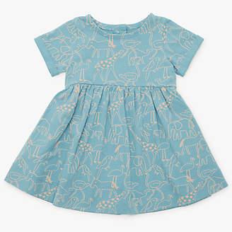 John Lewis Organic Cotton Animal Dress, Blue