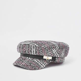 River Island Black check padlock baker boy hat