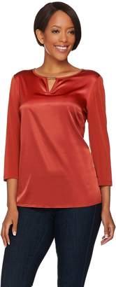 Susan Graver Liquid Knit Top with Woven Front & Keyhole Trim