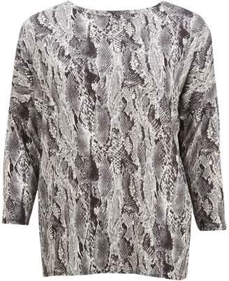 Evans Grey Snake Print Long Sleeve Top