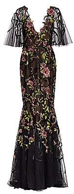 Marchesa Women's Re-Embroidered Floral Tulle Gown
