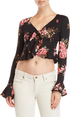 Polly & Esther Floral Knot Crop Top