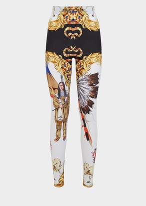 Versace Native Americans Print Leggings
