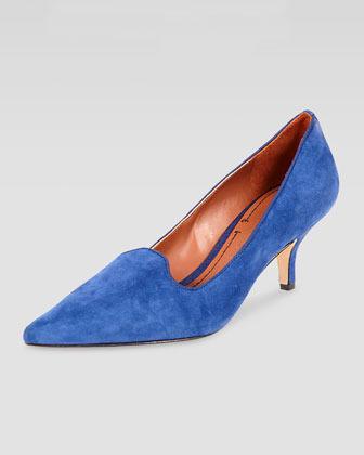 Elizabeth and James Clark Pointed-Toe Suede Smoking-Slipper Pump, Blue