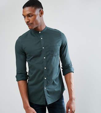 Asos TALL Stretch Slim Denim Shirt With Grandad Collar In Green