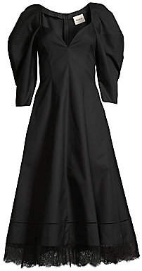 KHAITE Women's Dina Gigot Sleeve Cotton Twill Dress
