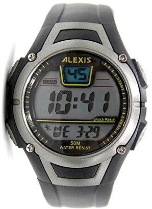 Alexis dw423 aブラック時計ケース日付アラームバックライトWater Resistメンズレディースデジタル腕時計