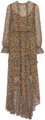 Mikael Aghal Asymmetric Ruffled Printed Chiffon Maxi Dress
