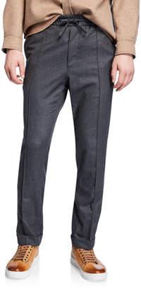 Brioni Men's Drawstring Flannel Pants
