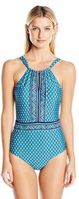 Jantzen Women's Wow Factor High Neck One Piece Swimsuit $108 thestylecure.com