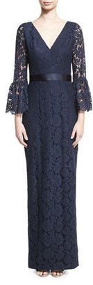 Theia Bell-Sleeve Floral Lace Column Gown, Navy $795 thestylecure.com