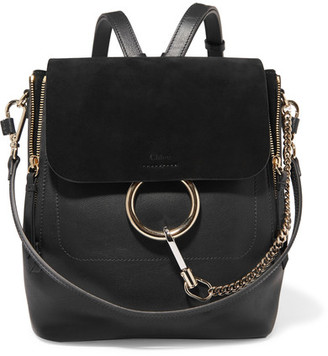 Chloé Faye Medium Textured-leather And Suede Backpack - Black