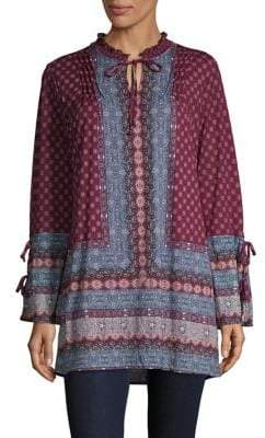 Style&Co. Style & Co. Moroccan Print Tie-Neck Tunic Top