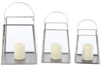 CosmoLiving by Cosmopolitan Metal and Glass Trapezoid Hanging Lantern Candle Holders, Set of 3: 7, 6